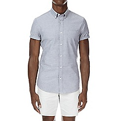 Burton - Grey stretch muscle fit short sleeve oxford shirt