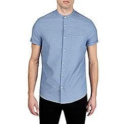 Burton - Blue short sleeve textured grandad shirt