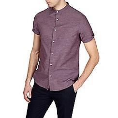 Burton - Burgundy short sleeve textured grandad shirt