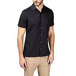 Burton - Black short sleeve waffle revere shirt