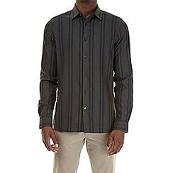 Burton - Brushed khaki long sleeve striped shirt
