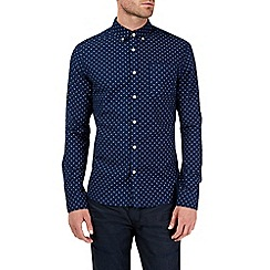 Burton - Long sleeve navy oxford print shirt
