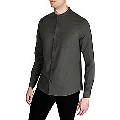 Burton - Khaki long sleeve textured grandad shirt