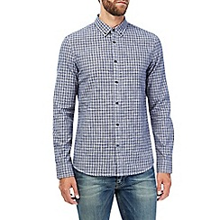 Burton - Long sleeve navy cross dobby shirt