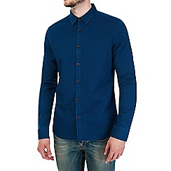 Burton - Long sleeve navy textured shirt