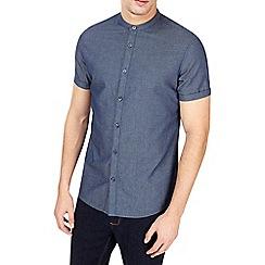 Burton - Short sleeve indigo textured grandad shirt