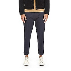 Burton - Navy blue tapered leg stretch chinos