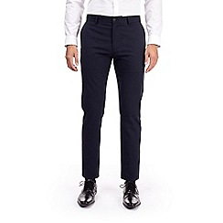 Burton - Navy dobby slim fit textured trousers