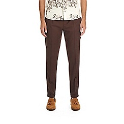 Burton - Burgundy tapered fit pleat trousers