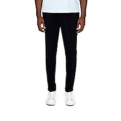 Burton - Navy blue tapered fit flecked trousers