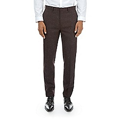 Burton - Burgundy tapered fit fleck trousers