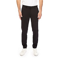 Burton - Black tapered fit side striped trousers