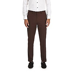 Burton - Burgundy tapered fit side striped trousers