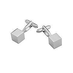 Burton - Silver look cube cufflinks