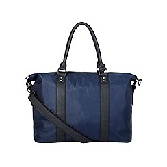 Burton - Navy & black faux leather holdall