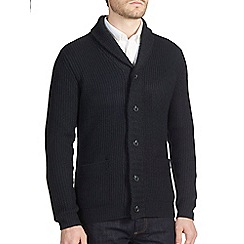 Burton - Navy chunky shawl neck cardigan