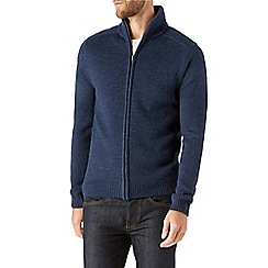 Burton - Navy funnel neck  zip through jumper