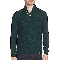 Burton - Dark green textured stitch funnel neck jumper