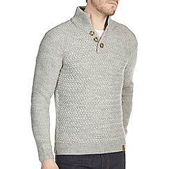 Burton - Grey textured stitch funnel neck jumper