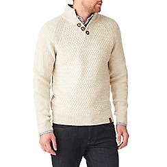 Burton - Oatmeal textured stitch funnel neck jumper