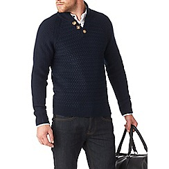 Burton - Navy textured stitch funnel neck jumper