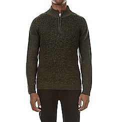 Burton - Khaki half zip knitted jumper