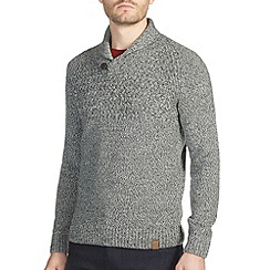 Burton - Grey textured stitch yoke shawl neck jumper