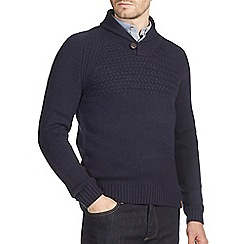 Burton - Navy textured stitch yoke shawl neck jumper