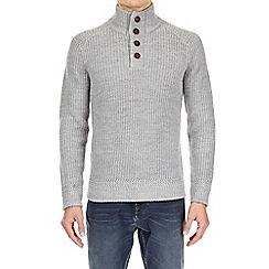 Burton - Grey button neck jumper