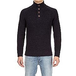 Burton - Navy button neck jumper