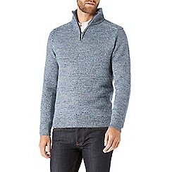 Burton - Blue funnel neck half zip jumper