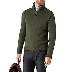 Burton - Khaki funnel neck half zip jumper