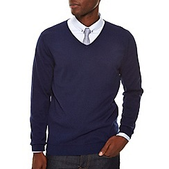 Burton - Navy v - neck jumper