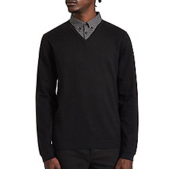Burton - Black  v-neck jumper with mock shirt