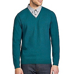 Burton - Green mock shirt v-neck jumper