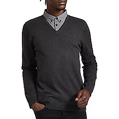 Burton - Charcoal mock shirt v-neck jumper