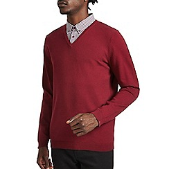 Burton - Red v-neck jumper with mock shirt