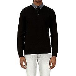 Burton - Black knitted polo shirt