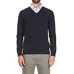 Burton - Navy V-neck jumper with mock shirt
