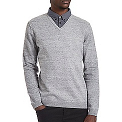 Burton - Grey mock shirt v-neck jumper