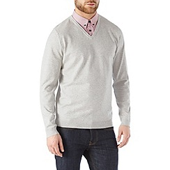 Burton - Light grey v-neck jumper with mock shirt