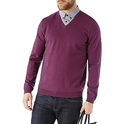 Burton - Purple v-neck jumper with mock shirt