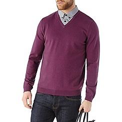 Burton - Purple v-neck jumper with mock shirt