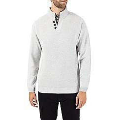 Burton - Ecru mock shirt button neck jumper