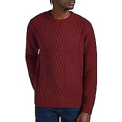 Burton - Red classic cable knit jumper