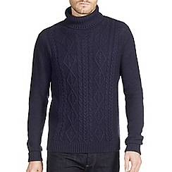 Burton - Navy cable roll neck jumper