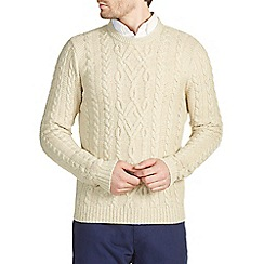 Burton - Oatmeal traditional cable wool mix jumper