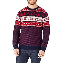 Burton - Navy & red fairisle christmas jumper