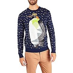 Burton - Blue abstract penguin christmas jumper