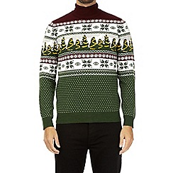 Burton - Green Christmas tree roll neck novelty jumper